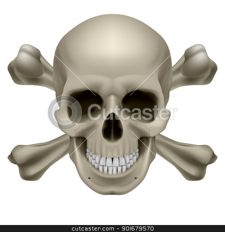 Realistic skull and bones stock photo, Realistic skull and bones. Illustration on white background by dvarg