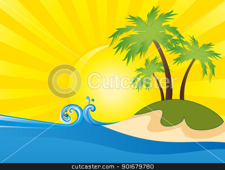 Summer stock vector clipart, Summer themed beach illustration background  by Miroslava Hlavacova