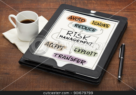 risk management concept stock photo, risk management strategies - avoid, ignore, reduce, accept, transfer or exploit - colorful  sketch on a tablet computer with stylus pen and espresso coffee cup against grunge scratched wooden table by Marek Uliasz