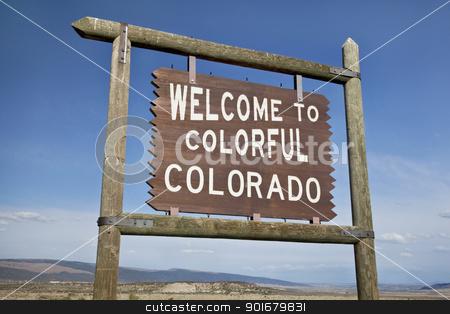 welcome to Colorado roadside sign stock photo, welcome to Colorado roadside wooden sign at a border with Utah in northwestern Colorado by Marek Uliasz
