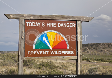 fire danger roadside sign in Colorado stock photo, fire danger roadside warning sign in northwestern Colorado showing moderate by Marek Uliasz