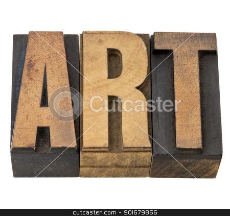 art word in wood type stock photo, art - isolated word in vintage letterpress wood type by Marek Uliasz