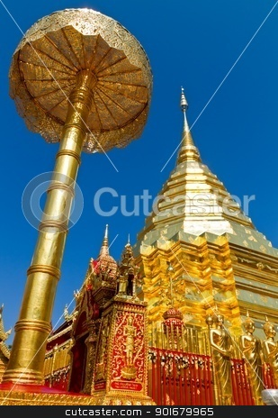 Golden pagoda at Doi Suthep, Thailand stock photo,  by pattarastock