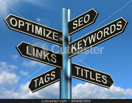 Seo Optimize Keywords Links Signpost Shows Website Marketing Opt stock photo, Seo Optimize Keywords Links Signpost Showing Website Marketing Optimization by stuartmiles