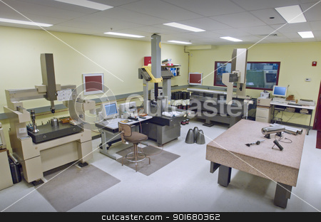 Quality control room stock photo, Quality control room in a metal fabricating shop by Christian Delbert