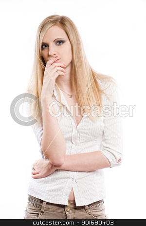 Beautiful young blond pondering. stock photo, Half length portrait of a beautiful young blond woman pondering. by exvivo