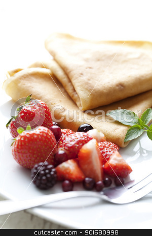 crepes with strawberries stock photo, sweet thin french style crepes, served with strawberries and castor sugar, very close up and very shallow dof for a dreamy effect, focus on the strawberry in front by Liv Friis-Larsen