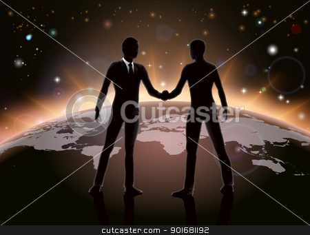 Global business concept stock vector clipart, Global business or networking concept, business men shaking hands in agreement on world map by Christos Georghiou