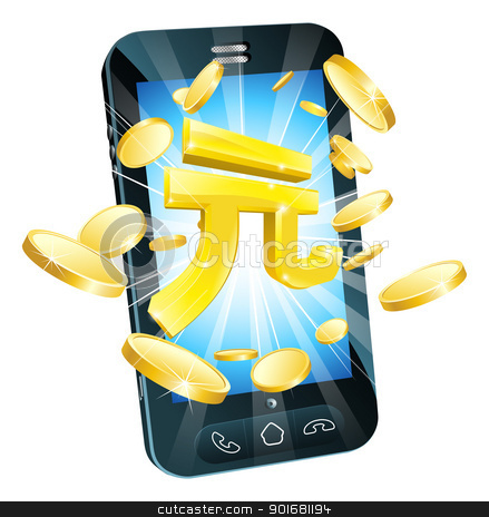 Yuan money phone concept stock vector clipart, Yuan money phone concept illustration of mobile cell phone with gold Yuan sign and coins by Christos Georghiou