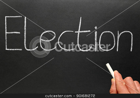 Election, written with white chalk on a blackboard. stock photo, Election, written with white chalk on a blackboard. by Stephen Rees