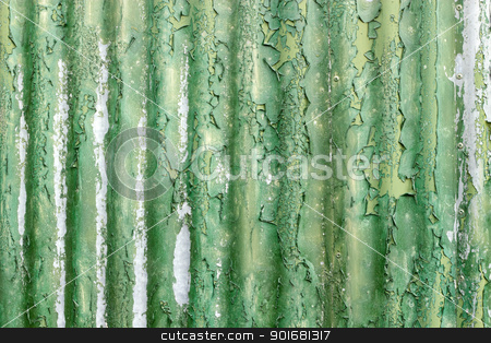 Flaky green paint on weathered corrugated iron. stock photo, Flaky green paint on weathered corrugated iron. by Stephen Rees