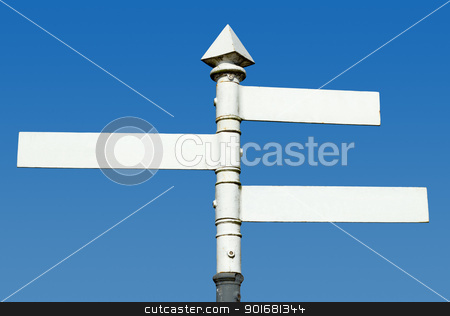 Old fashioned English 3 way blank direction signpost.  stock photo, Old fashioned English 3 way blank direction signpost.  by Stephen Rees
