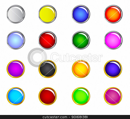 Web button set stock vector clipart, A collection of buttons useful for website  by monicaodo