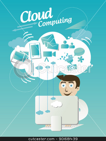 Cloud computing concept  stock vector clipart, Cloud computing concept with elements by Natashasha