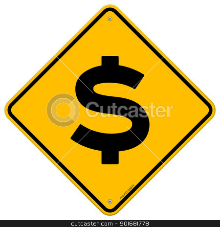 Dollar Sign stock vector clipart, Yellow Roadsign with black Dollar currency symbol by Vitezslav Valka