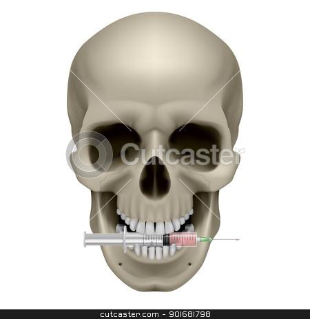 Human skull and syringe stock photo, Human skull and syringe. Illustration on white background by dvarg