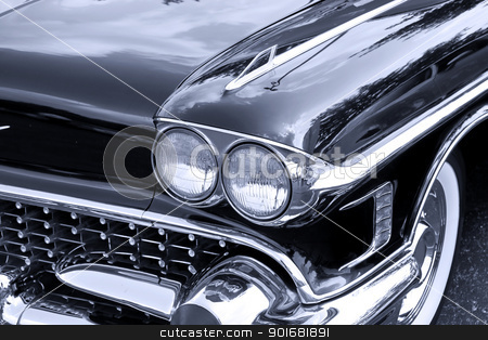 Front end of classic car stock photo, Front end of classic luxury car in Black and white by Sreedhar Yedlapati