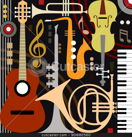 Abstract musical instruments stock vector clipart, Abstract colored music instruments, full scalable vector graphic, change the colors as you like. by Ela Kwasniewski