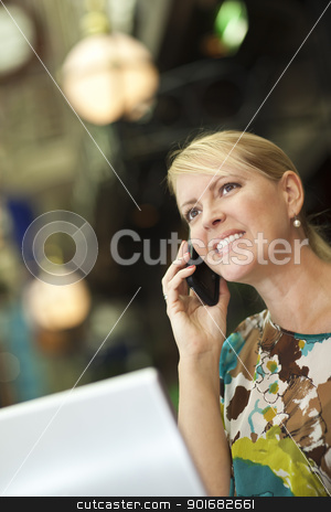 Woman On Her Cell Phone and Laptop in the City Lights stock photo, Beautiful Blonde Woman On Her Cell Phone and Laptop Computer in the City Lights. by Andy Dean
