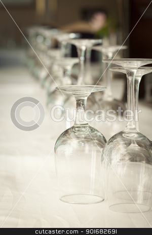 Drinking Glasses Abstract in Formal Dining Room stock photo, Several Drinking Glasses Abstract in Formal Dining Room Setting. by Andy Dean