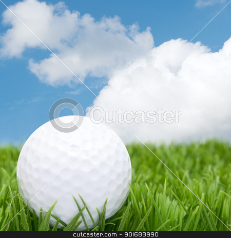 Golf Ball stock photo, Golf Ball in Grass and Blue Sky by JAMDesign