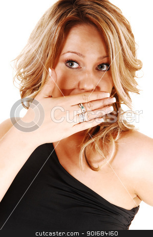 Frightened young woman. stock photo, A closeup shoot of a very surprised blond woman, holding her hand for her mouth, looking upset, for white background.  by Horst Petzold