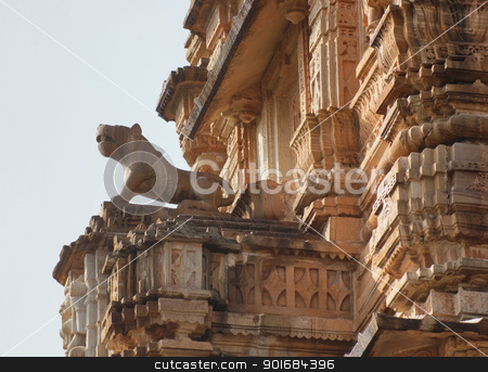 architectural detail in India stock photo, ornamented architectural detail with sculptures and figures in India by prill