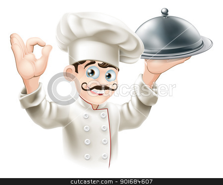 Gourmet chef illustration stock vector clipart, Illustration of a gourmet chef holding  silver platter and giving an okay sign  by Christos Georghiou