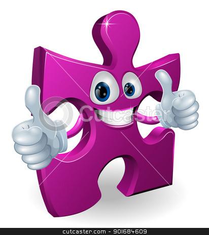 Jigsaw piece cartooon man stock vector clipart, A jigsaw piece cartoon man smiling and giving a double thumbs up  by Christos Georghiou