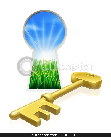 Key to freedom concept stock vector clipart, Conceptual illustration of key and keyhole looking out onto beautiful green field. Concept for freedom, opportunity or other business metaphor by Christos Georghiou