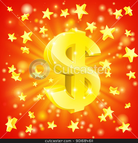 Dollar money star concept stock vector clipart, Exciting financial success concept with gold dollar sign flying out of background with stars by Christos Georghiou