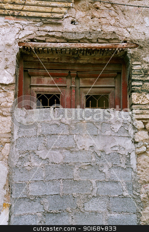 bricked up vintage door and grungy wall stock photo, Bricked up vintage door and grungy wall. Abandoned house exterior. by sirylok