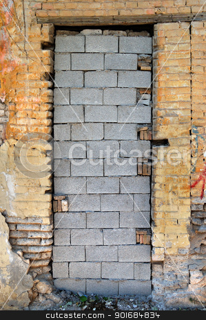 bricked up door and chipped brick wall texture stock photo, Bricked up door and chipped brick wall texture. Abandoned house exterior. by sirylok