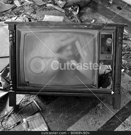 ghostly figure on vintage tv set stock photo, A ghostly figure appears on the flickering screen of an old tv set. Haunted house. by sirylok