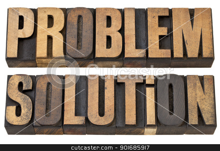 problem and solution in wood type stock photo, problem and solution - isolated words in vintage letterpress wood type by Marek Uliasz