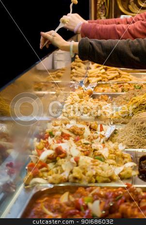 oriental food stock photo, Freshly prepared oriental dishes on a market stall by Desislava Dimitrova
