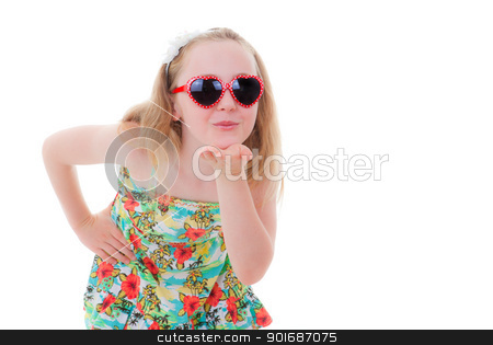 summer child kiss stock photo, summer child in sunglasses blowing kiss by mandygodbehear