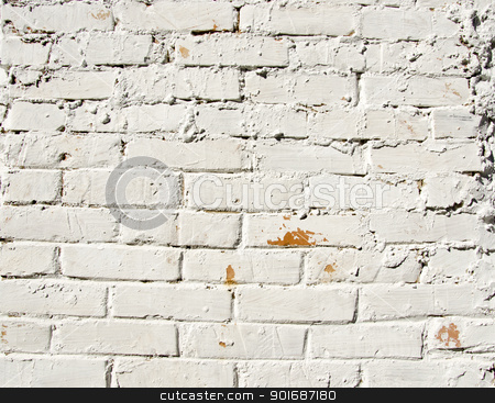 Background red brick wall painted white paint  stock photo, Background red brick wall painted white paint. Architectural backdrop.  by sauletas