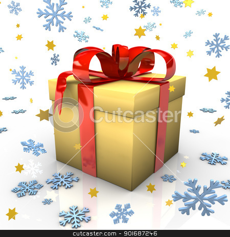 Yellow Gift stock photo, Gift with red ribbons, snowflakes and golden stars on the white background. by Alexander Limbach
