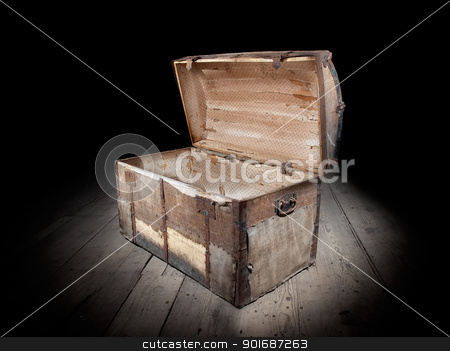 Empty treasure chest stock photo, Open and empty treasure chest. by Sinisa Botas