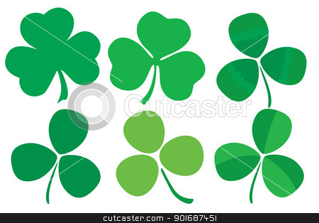 Set of six stylized clovers stock vector clipart, Six stylized clovers isolated on white background  by Liviu Peicu