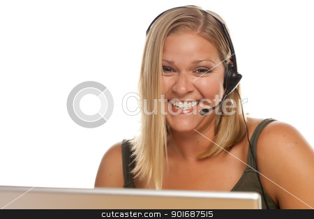 Beautiful Friendly Customer Support Girl and Computer stock photo, Beautiful Friendly Female Customer Support Phone Operator in Front of a Computer Screen Isolated on a White Background. by Andy Dean
