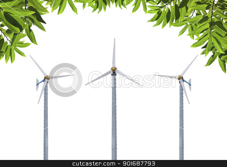 Ecofriendly energy  stock photo, Windmills with beautiful green leafs isolate on white by Exsodus