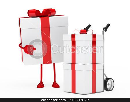 gift figure hand truck stock photo, christmas red gift figure show hand truck by d3images