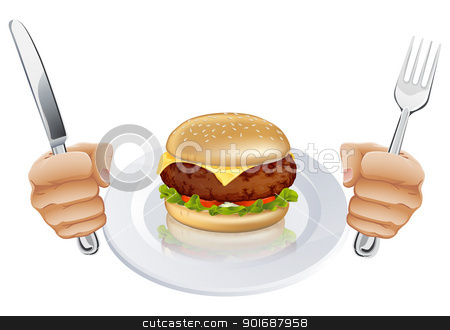 Hungry for a burger stock vector clipart, A burger on a plate with hands holding a knife and fork by Christos Georghiou