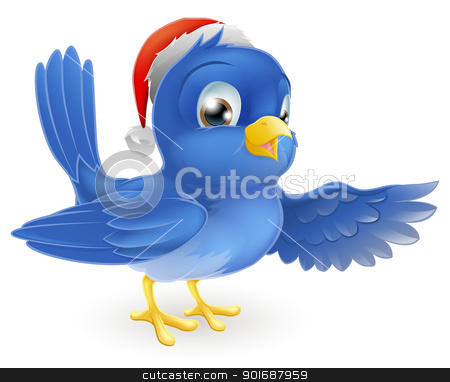 Christmas Santa Hat Pointing Bluebird stock vector clipart, Illustration of pointing bluebird wearing Christmas Santa Hat by Christos Georghiou
