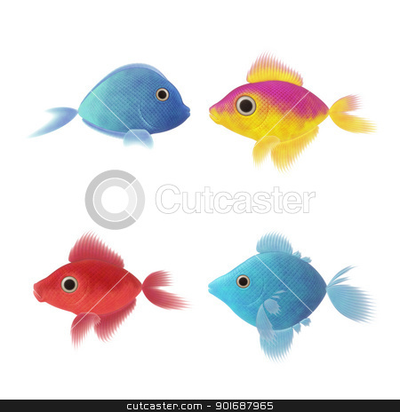 four fish illustrations stock photo, An image of four nice fish illustrations by Markus Gann