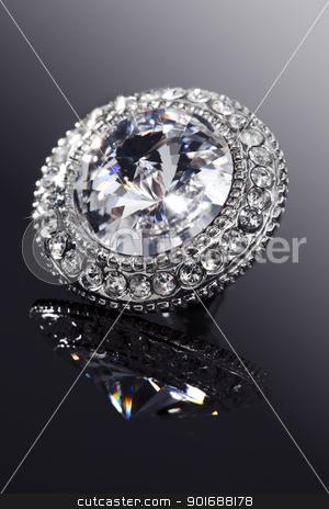 diamond jewelry stock photo, closeup of faux diamond earring by Liv Friis-Larsen