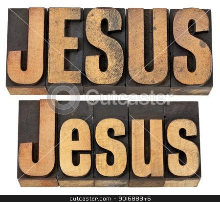 Jesus word in wood type stock photo, Jesus - isolated word in vintage letterpress wood type, two layouts in upper- and lowercase by Marek Uliasz
