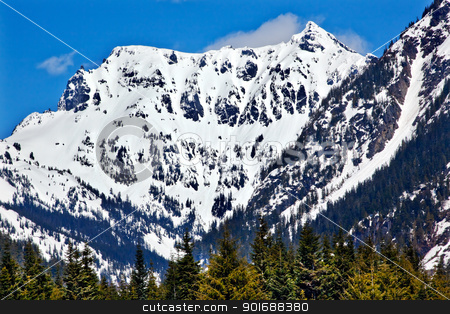 Snowy Mount Chikamin Peak in April Snoqualme Pass Wenatchee Nati stock photo, Snow Covered Mount Chikamin Peak April Snow Winter Snoqualme Pass Wenatchee National Forest Wilderness Washington by William Perry